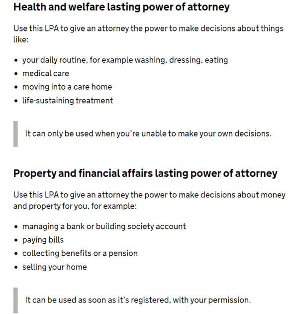 Health and Welfare lasting power of attorney details.