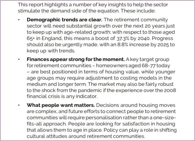 Insights into the stimulation of the Retirement Living market